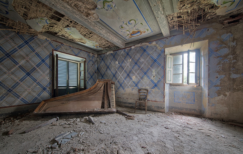 Piano in an abandoned house