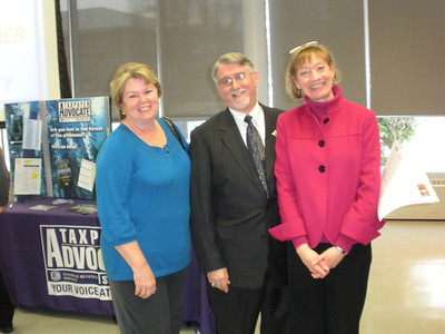 Former IRS Taxpayer Advocate Eileen Mahoney, Local Taxpayer Advocate Lyle Lauderbach and National Taxpayer Advocate Nina Olsen