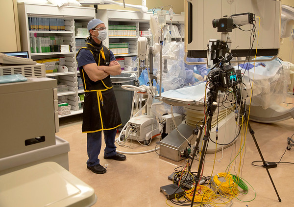 Photos of the Holy Name Medical Center Interventional Radiology live simulcast to Germany, where two thousand physicians were observing the procedures.  1/28/15 Photo by Jeff Rhode /Holy Name Medical Center