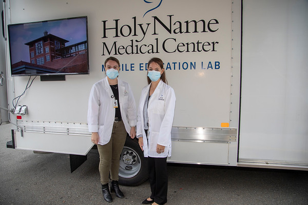Holy Name Medical Center provided free flu shots through their Community Outreach Program on Saturday, October 24, 2020. The newest addition to the team is MEL, the Mobile Education Lab, who teaches safe practices remotely in the community. MEL is part of the team of The Russel Berrie Institute for Simulation Learning.  Photos by Jeff Rhode/Holy Name Medical Center.