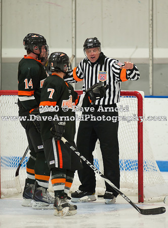 Referee, Peter LaFosse (KU - 14), Ryan Cole (KU - 7) - 12/19/2010 -  Flood-Marr Championship Game - Westminster vs Kimball Union.  In a wild and controversial ending, Westminster edged Kimball Union 3-2 in double overtime.  A few minutes before the game winner, a KU goal was disallowed because of the net being dislodged.