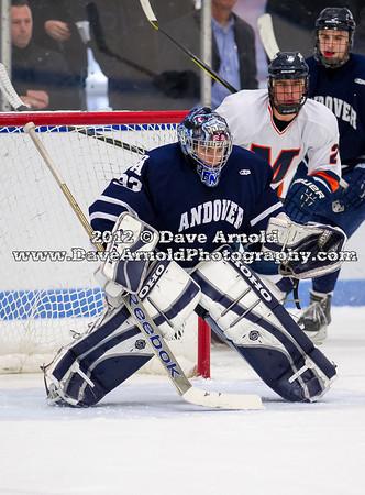 Ross Bendetson (Andover - 33) - 2012 Flood-Marr Round Robin - Milton Boys Varsity Hockey defeated Andover 4-3 on  December 14th, 2012, at Flood Rink in Dedham, Massachusetts.
