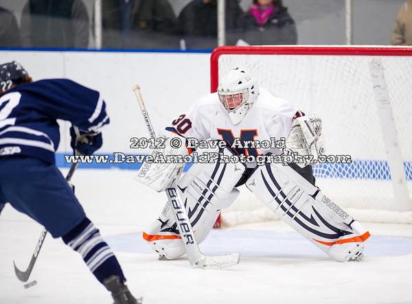 Seamus O'Neill (Andover - 22),  Drew Hotte (Milton - 30) - 2012 Flood-Marr Round Robin - Milton Boys Varsity Hockey defeated Andover 4-3 on  December 14th, 2012, at Flood Rink in Dedham, Massachusetts.