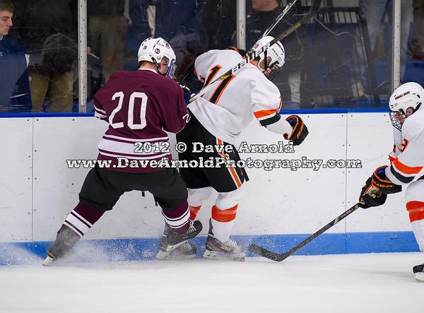 Jason Kalinowski (Salisbury - 20),  Casey Miller (KU - 11) - 2012 Flood-Marr Round Robin - Kimball Union Boys Varsity Hockey defeated Salisbury 3-2 on  December 14th, 2012, at Flood Rink in Dedham, Massachusetts.