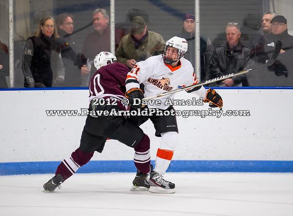 Matt Pugh (Salisbury - 10),  Brendan White (KU - 21) - 2012 Flood-Marr Round Robin - Kimball Union Boys Varsity Hockey defeated Salisbury 3-2 on  December 14th, 2012, at Flood Rink in Dedham, Massachusetts.