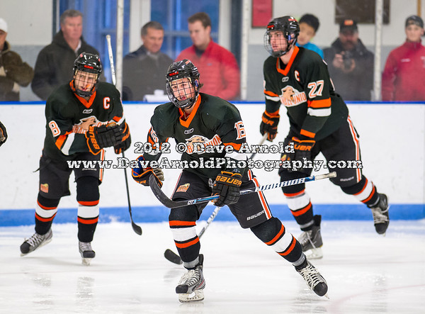 JD Dudek (KU - 16),  Alex Carle (KU - 18),  Doyle Somerby (KU - 27) - Kimball Union Boys Varsity Hockey defeated Westminster 4-1 to win the 2012 Flood-Marr Tournament on December 16, 2012, at Noble & Greenough in Dedham, Massachusetts.