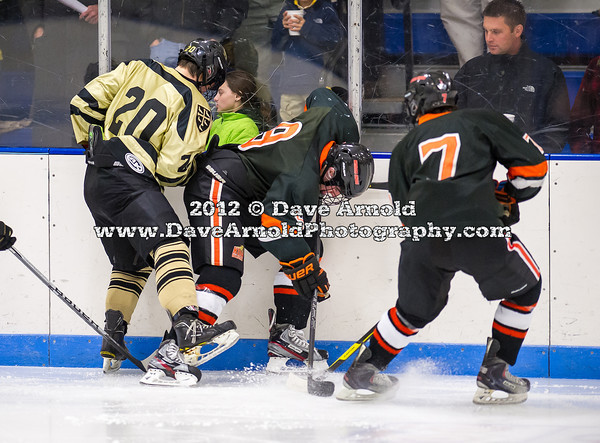 Ethan Holdaway (Westminster - 20),  Jake Landry (KU - 8),  Brandon Cole (KU - 7) - Kimball Union Boys Varsity Hockey defeated Westminster 4-1 to win the 2012 Flood-Marr Tournament on December 16, 2012, at Noble & Greenough in Dedham, Massachusetts.