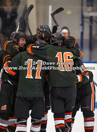 Casey Miller (KU - 11),  JD Dudek (KU - 16),  Nick Roberto (KU - 15) - Kimball Union Boys Varsity Hockey defeated Westminster 4-1 to win the 2012 Flood-Marr Tournament on December 16, 2012, at Noble & Greenough in Dedham, Massachusetts.