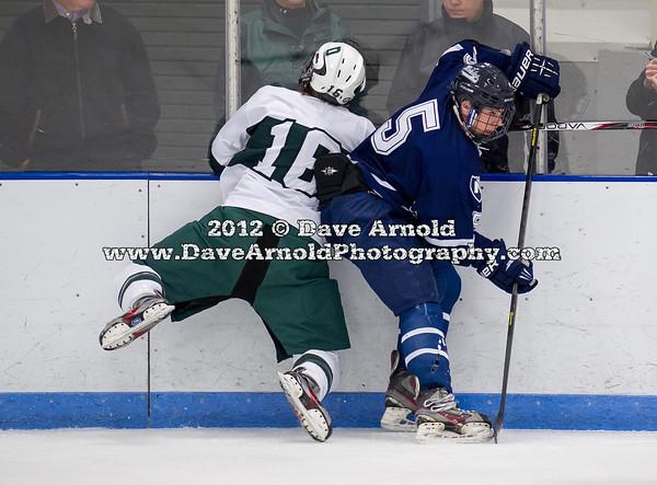 Andrew Hadley (Deerfield - 16),  Billy Sweezey (Nobles - 5) - 2012 Flood-Marr Round Robin - Noble & Greenough Boys Varsity Hockey defeated Deerfield Academy 3-2 on  December 14th, 2012, at Flood Rink in Dedham, Massachusetts.