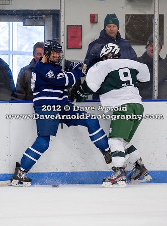 Jake Mercier (Nobles - 17),  Sam Lafferty (Deerfield - 9) - 2012 Flood-Marr Round Robin - Noble & Greenough Boys Varsity Hockey defeated Deerfield Academy 3-2 on  December 14th, 2012, at Flood Rink in Dedham, Massachusetts.