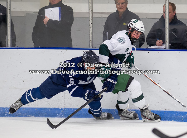 Billy Sweezey (Nobles - 5),  Sam Lafferty (Deerfield - 9) - 2012 Flood-Marr Round Robin - Noble & Greenough Boys Varsity Hockey defeated Deerfield Academy 3-2 on  December 14th, 2012, at Flood Rink in Dedham, Massachusetts.