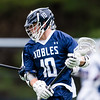Boys Varsity Lacrosse: Nobles defeated Brewster 13-12 on April 26, 2016, at Noble & Greenough in Dedham, Massachusetts