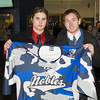 Matthew Harlow (Nobles - 9), Andrew Doane (Nobles - 19) - Wearing their third jersey in honor of the the fundraiser for the the Massachusetts Soldiers Legacy Fund, Nobles Girls Varsity defeated Exeter 1-0 on January 22, 2010, at Flood Rink in Dedham, Massachusetts.