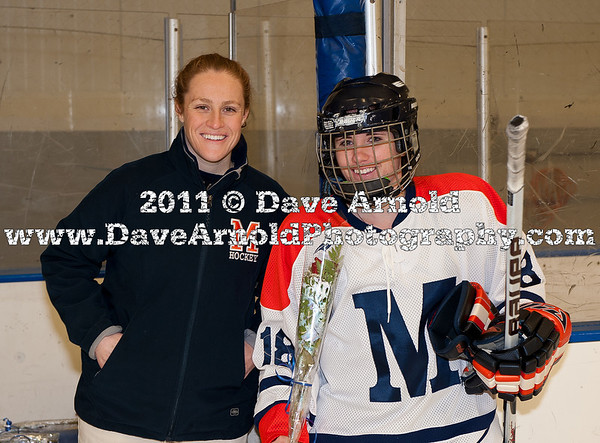 Katie Bean (MA - 18), Head Coach Deanna McDevitt - Nobles defeated Milton 5-1 in the final regular season game on February 26, 2011, at Flood Rink in Dedham, MA.