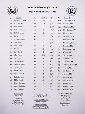 Nobles Boys Varsity Hockey defeated Tabor 9-5 on Wednesday December 11, 2013, at Noble & Greenough in Dedham, Massachusetts.