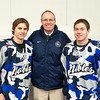 Matthew Harlow (Nobles - 9), Andrew Doane (Nobles - 19), Head Coach Brian Day - Wearing their third jersey in honor of the the fundraiser for the the Massachusetts Soldiers Legacy Fund, Nobles Girls Varsity defeated Exeter 1-0 on January 22, 2010, at Flood Rink in Dedham, Massachusetts.