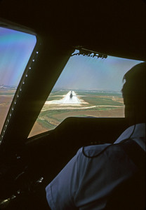View from an L-1011 cockpit as we landed at BenGurion airport in Tel Aviv, Israel.  I was able to ride in the jump seat due to my position with TWA in the Flight Operations Department.