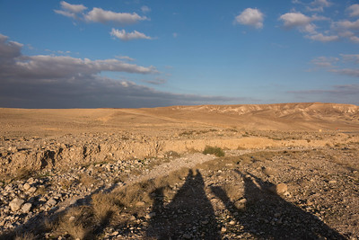 Shadow of people riding on camels in desert, Judean Desert, Dead Sea Region, Israel