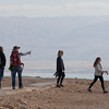 Tourists walking in desert, Masada, Judean Desert, Dead Sea Region, Israel