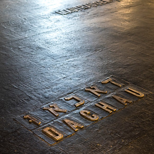 Names of martyrs on floor in memorial, Hall Of Remembrance, Yad Vashem, Jerusalem, Israel