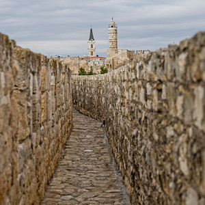 Wall promenade in the old city with Tower of King David Citadel in background, Jerusalem, Israel