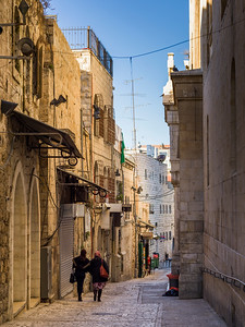 Traditional buildings along alley in the Old City, Jerusalem, Israel