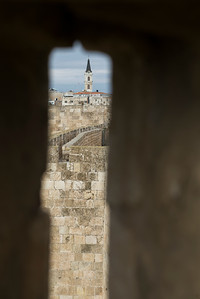 Ramparts walk with bell tower in background, Old city, Jerusalem, Israel