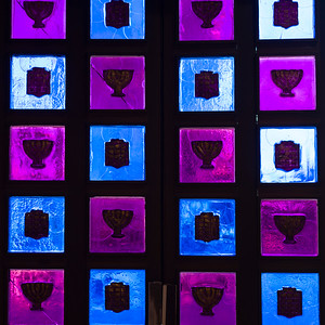 Close-up of a religious symbols on glass window in Great Synagogue, Jerusalem, Israel