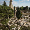 High angle view of cemetery with church in background, Old city, Jerusalem, Israel