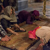 The Stone of Anointing where Jesus' body is said to have been anointed before burial, Church of Holy Sepulchre, Jerusalem, Israel