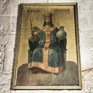 Painting of Enthroned Jesus on wall in the Church of the Holy Sepulchre, Jerusalem, Israel