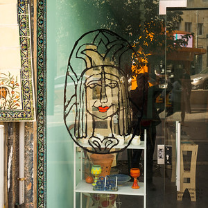 Close-up of picture on the glass entrance door of store, Jerusalem, Israel