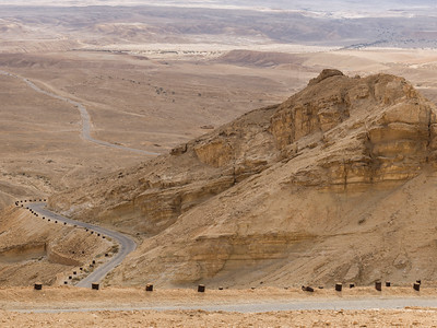 Highway passing through a desert, Scorpions Ascent, Arava Valley, Negev Desert, Israel