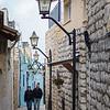 Two men walking in street, Safed, Northern District, Israel