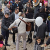 Street musician performing on crowded street, Safed, Northern District, Israel