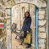 Happy woman standing in street, Safed, Northern District, Israel