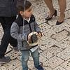 Boy holding tambourine, Safed, Northern District, Israel