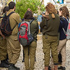 Army soldiers standing on street, Safed, Northern District, Israel