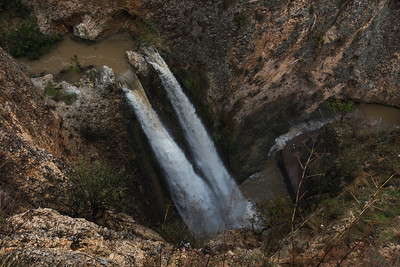 High angle view of waterfall in forest, Tahana Waterfall, Nahal Ayoun Nature Reserve, Metula, Northern District, Israel