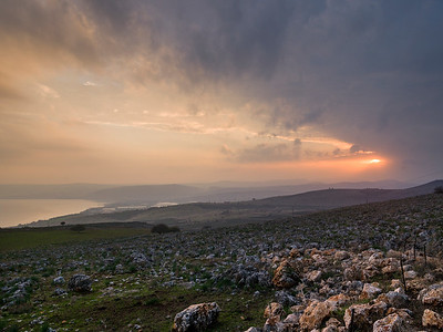 Sunrise over landscape, Vered HaGalil, Sea of Galilee, Galilee, Israel