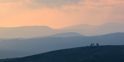 Sunrise over landscape, Vered HaGalil, Galilee, Israel