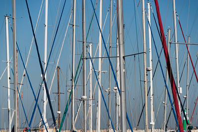 Masts of boats at marina, Tel Aviv-Yafo, Tel Aviv, Israel