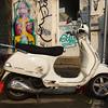 Motor Scooter parked outside building, Florentin, Tel Aviv, Israel