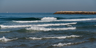 Waves in the sea, Tel Aviv, Israel