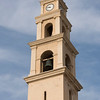 Low angle view of the bell tower of St. Peter's Church, Old Jaffa, Tel Aviv-Yafo, Israel