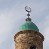 Low angle view of minaret of Al Bahr Mosque, Old Jaffa, Tel Aviv-Yafo, Israel