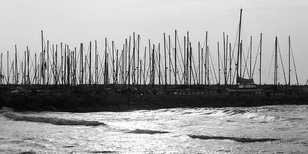 Boats moored at marina, Tel Aviv-Yafo, Tel Aviv, Israel