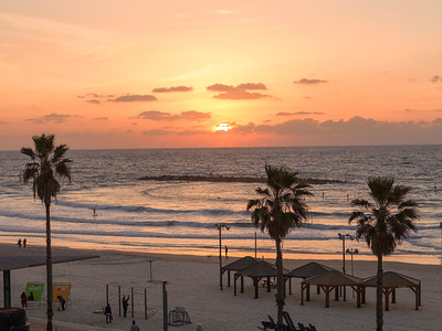 Scenic view of the beach at dusk, Tel Aviv, Israel