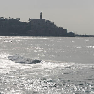 Waves in the sea with city in the background, Tel Aviv-Yafo, Tel Aviv, Israel