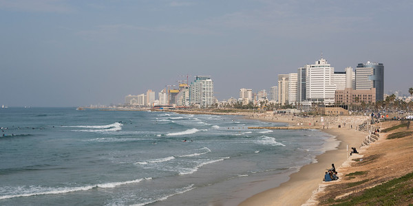 Scenic view of the beach, Tel Aviv, Israel